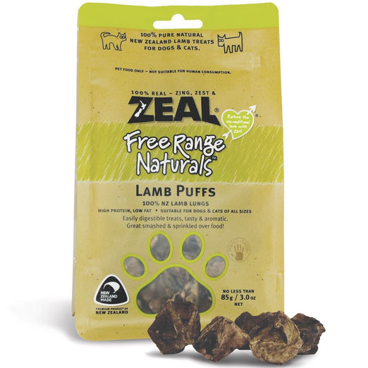 'BUY 2 GET 1 FREE + FREE MILK': Zeal Free Range Naturals Lamb Puffs Cat & Dog Treats 85g (Pre-Expo Sale)