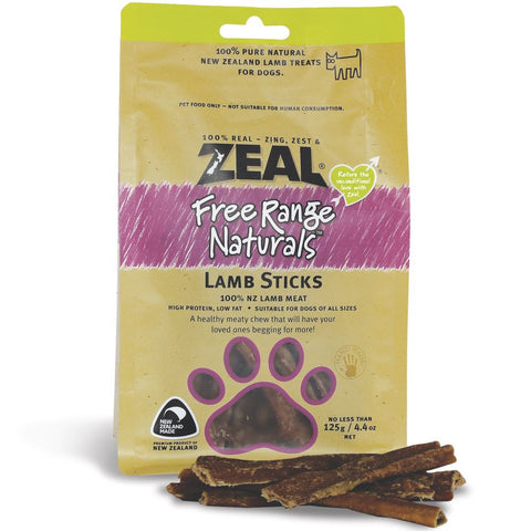 BUY 2 GET 1 FREE: Zeal Free Range Naturals Lamb Sticks Dog Treats 125g - Kohepets