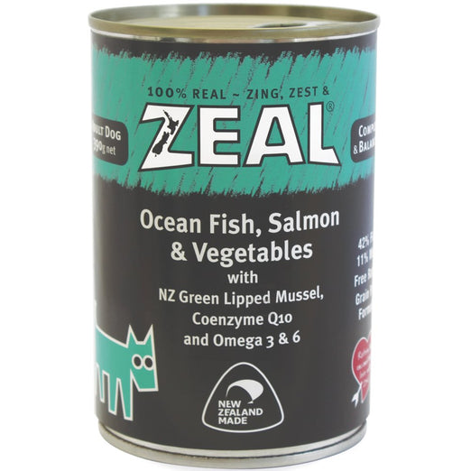 Zeal Ocean Fish, Salmon & Vegetables Canned Dog Food 390g