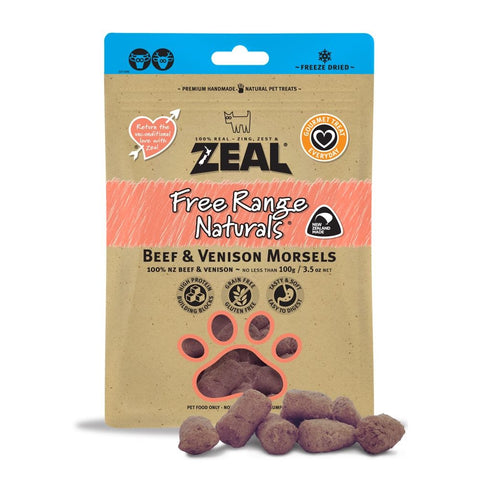 BUY 2 GET 1 FREE: Zeal Free Range Naturals Beef & Venison Morsels Dog Treats 100g