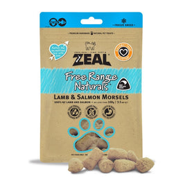 BUY 2 GET 1 FREE: Zeal Free Range Naturals Lamb & Salmon Morsels Freeze-Dried Cat Treats 100g