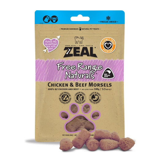 BUY 2 GET 1 FREE: Zeal Free Range Naturals Chicken & Beef Morsels Cat Treats 100g - Kohepets