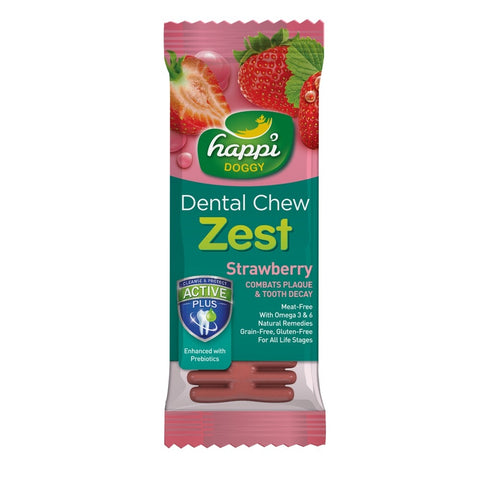 10% OFF: Happi Doggy Zest Strawberry 4 Inch Dental Dog Chew 25g