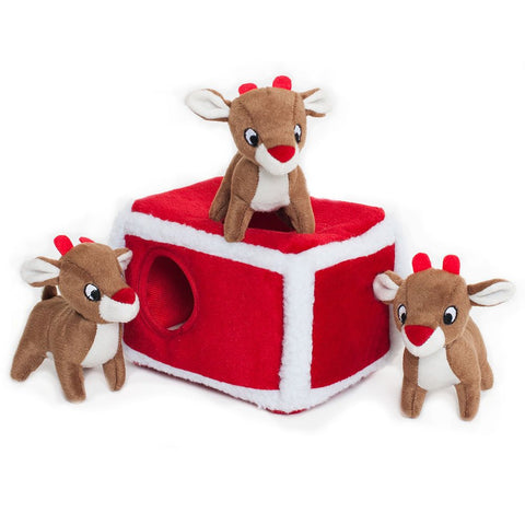 ZippyPaws Christmas Burrow Reindeer Pen Dog Toy