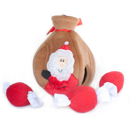 ZippyPaws Christmas Burrow Santa's Gift Bag Dog Toy