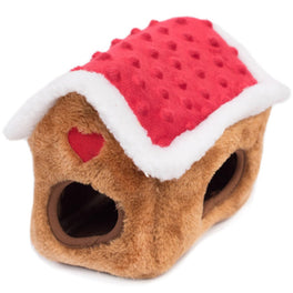 ZippyPaws Holiday Zippy Burrow Gingerbread House Dog Toy