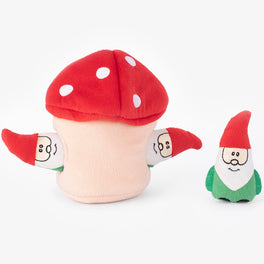 ZippyPaws Holiday Zippy Burrow Gnomes in Mushroom Dog Toy
