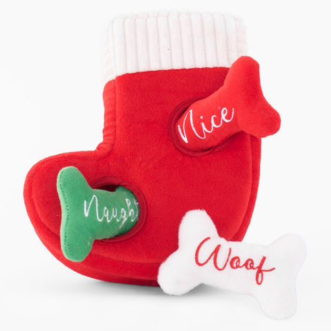 ZippyPaws Holiday Zippy Burrow Naughty or Nice Stocking Plush Dog Toy