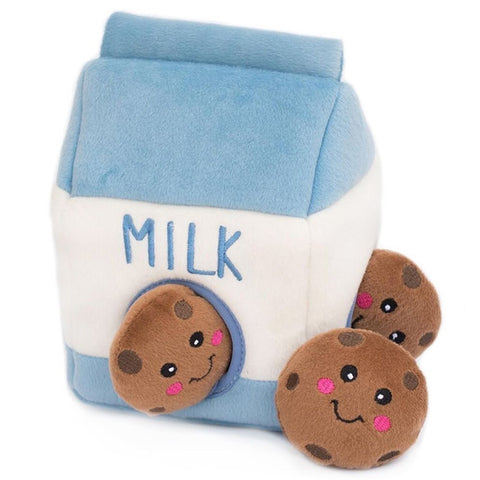 ZippyPaws Zippy Burrow Milk and Cookies Dog Toy
