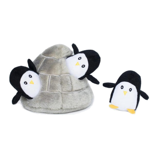 ZippyPaws Zippy Burrow Penguin Cave Plush Dog Toy