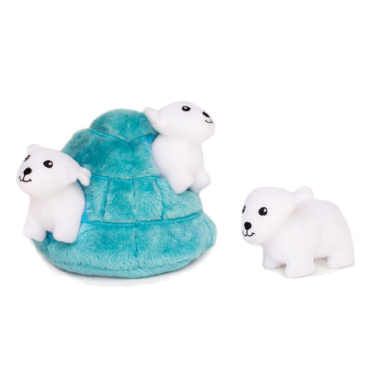 ZippyPaws Zippy Burrow Polar Bear Igloo Plush Dog Toy - Kohepets