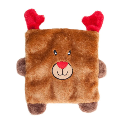 ZippyPaws Christmas Squarez Reindeer Dog Toy