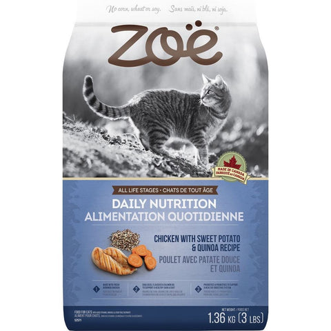 25% OFF: Zoe Daily Nutrition Chicken With Sweet Potato & Quinoa Recipe Dry Cat Food - Kohepets