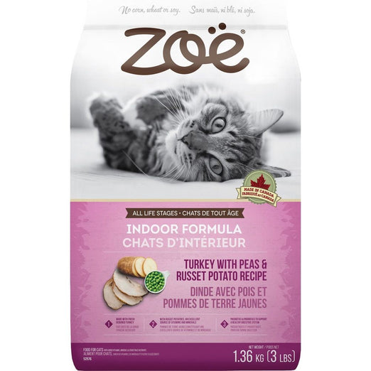 25% OFF: Zoe Indoor Formula Turkey With Peas & Russet Potato Dry Cat Food - Kohepets