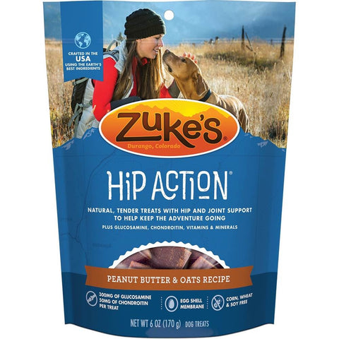 Zuke's Hip Action Dog Treats With Glucosamine & Chondroitin Peanut Butter & Oats Recipe 6oz
