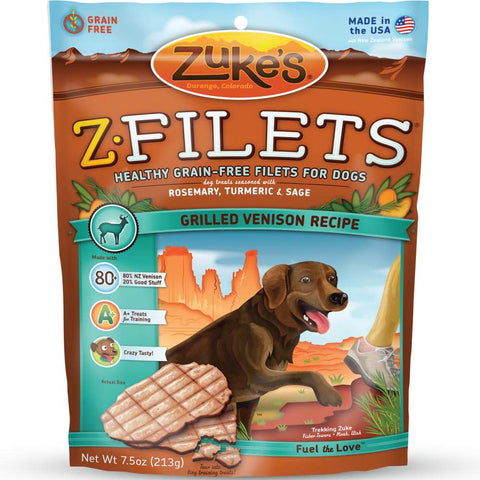 Zuke's Z-Filets Grilled Venison Dog Treats - Kohepets