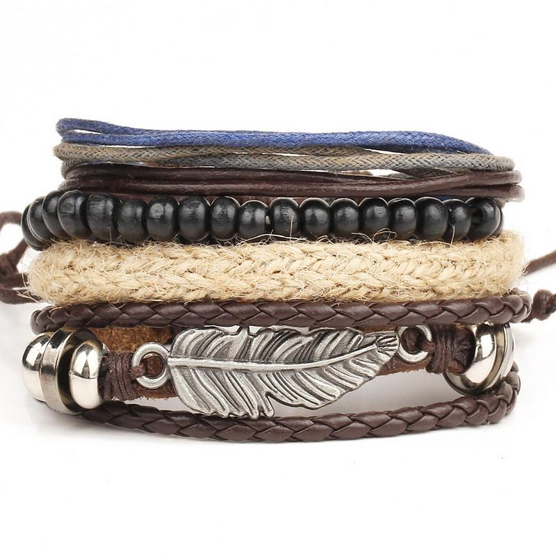 Multilayer Feather & Beads Leather Bracelet