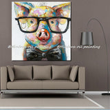 Pig Wearing Glasses Unique Wall Painting