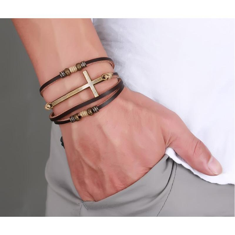 Genuine Real Leather Cross Bracelets