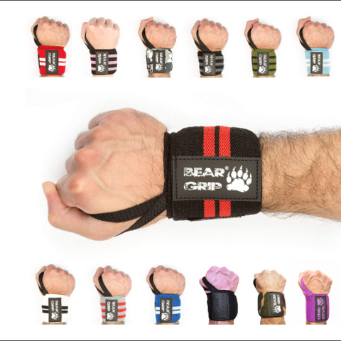 BEAR GRIP -  Premium Weight Lifting Wrist Support Wraps