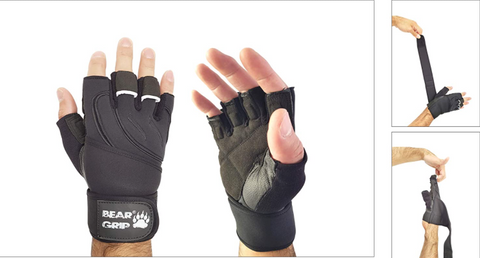 BEAR GRIP - Weight Lifting Gloves With Wrist Support Wraps