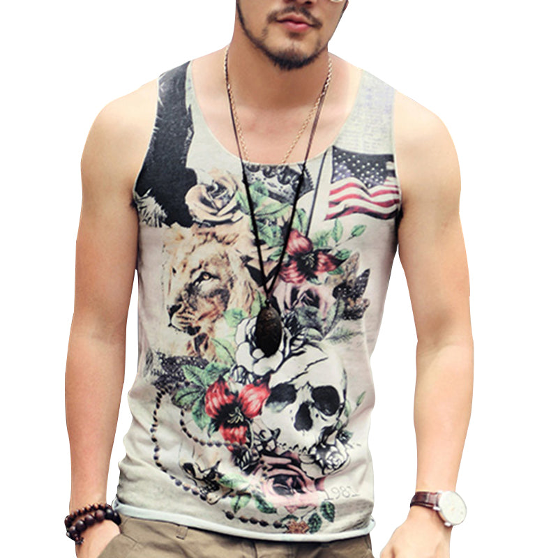 Men's Tank Top American Flag Skulls