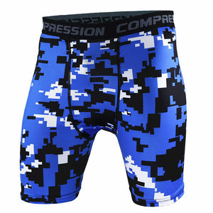 Blue Digital Camouflage Compression Shorts