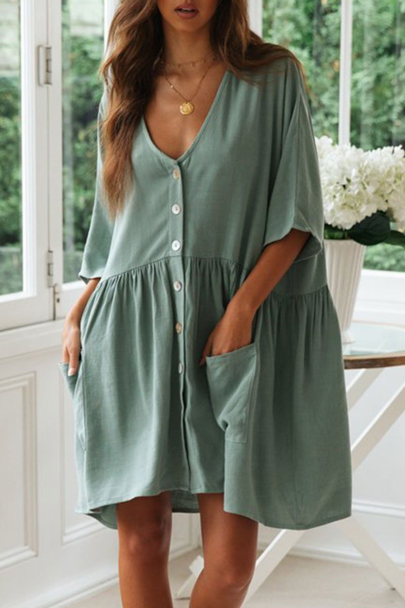 Vee V Neck Buttons Relaxed Fit Mini Dress