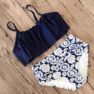 Vee Hot Flounce Printing Two-piece Swimwear
