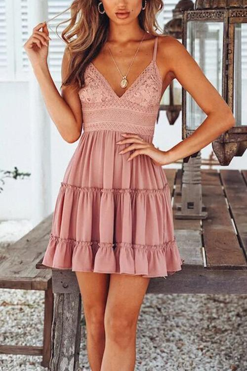 Vee Lace Embroid Mini Dress