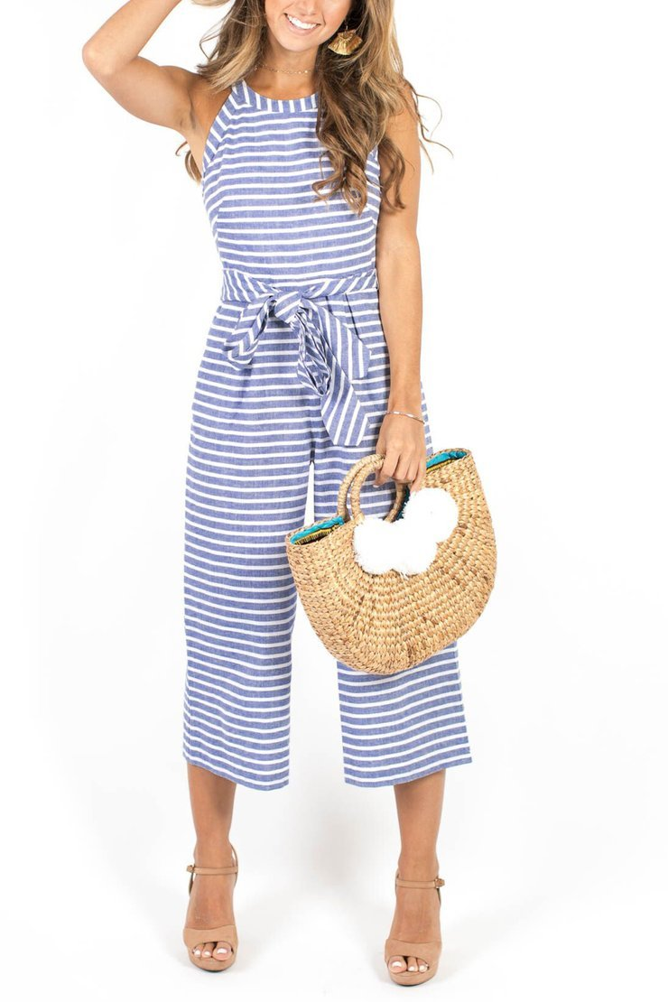 Vee Striped Sleeveless Jumpsuit
