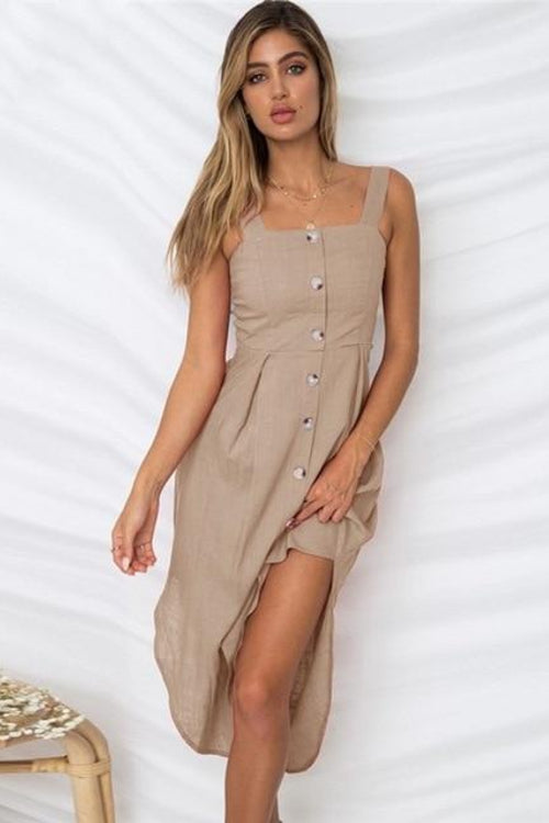 Vee Casual Button Up Midi Dresses