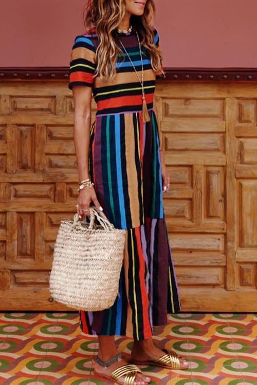 Vee Bohemian Striped Multicolor Maxi Dress