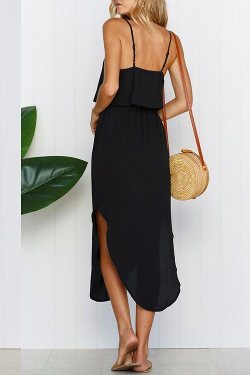 Vee Spaghetti Strap Side Slit Midi Dress