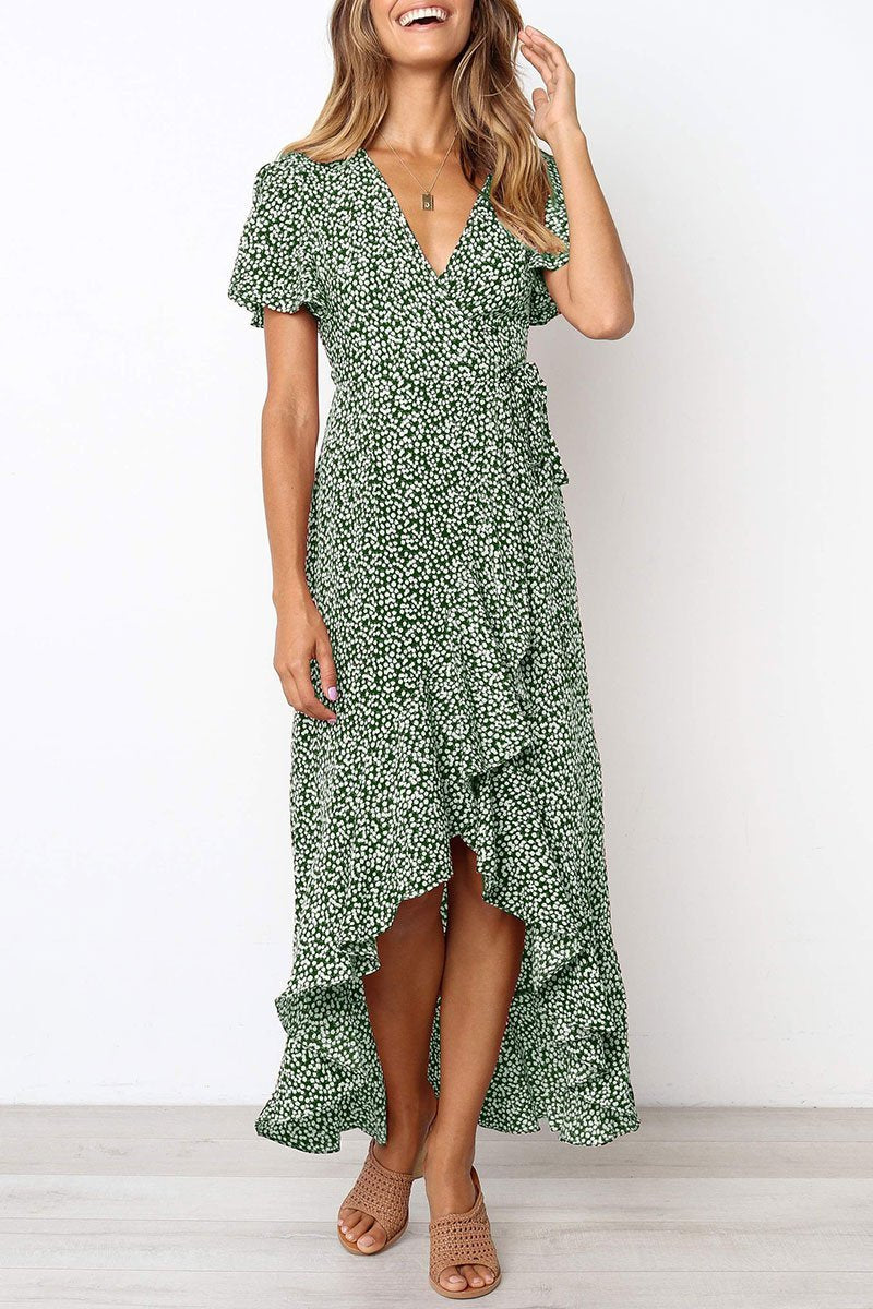 Vee V Neck Printed Wrap Ruffle Maxi Dress