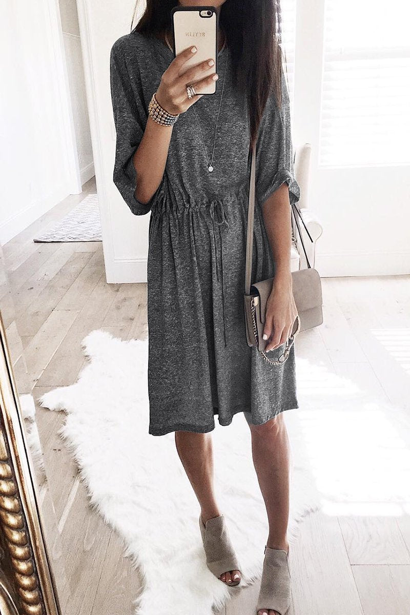 Vee Drawstring Waist Shift Mini Dress