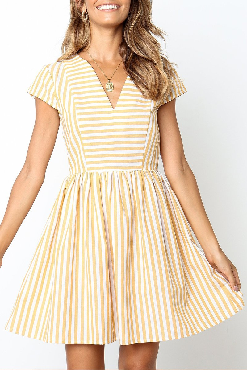 Vee Striped Yellow Mini Dress
