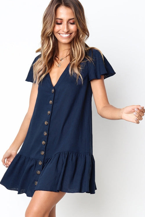 Vee Loose Button Up Mini Dress