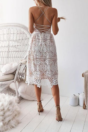 Vee Backless Lace Midi Dress