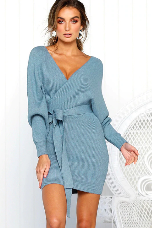 Vee Backless Belted Mini Dress