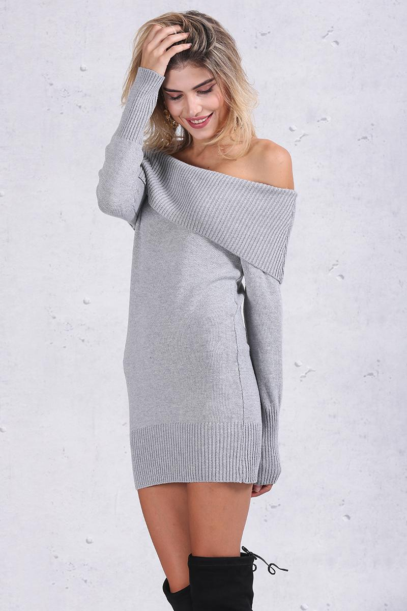 Vee Off Shoulder Knit Dress