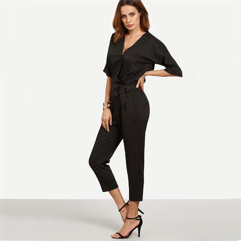 Vee Black Twin Pocket Jumpsuit