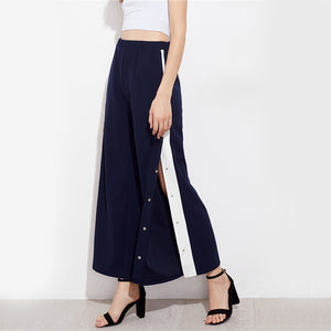 Vee Snap Button Contrast Side Pant