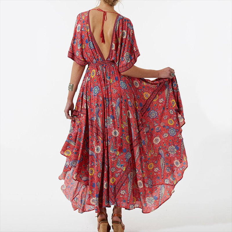 Vee Floral Printed Maxi Dress