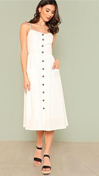 Vee Boho Button Up Midi Dress