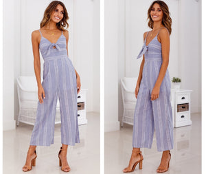 Vee Bowknot Striped Jumpsuit