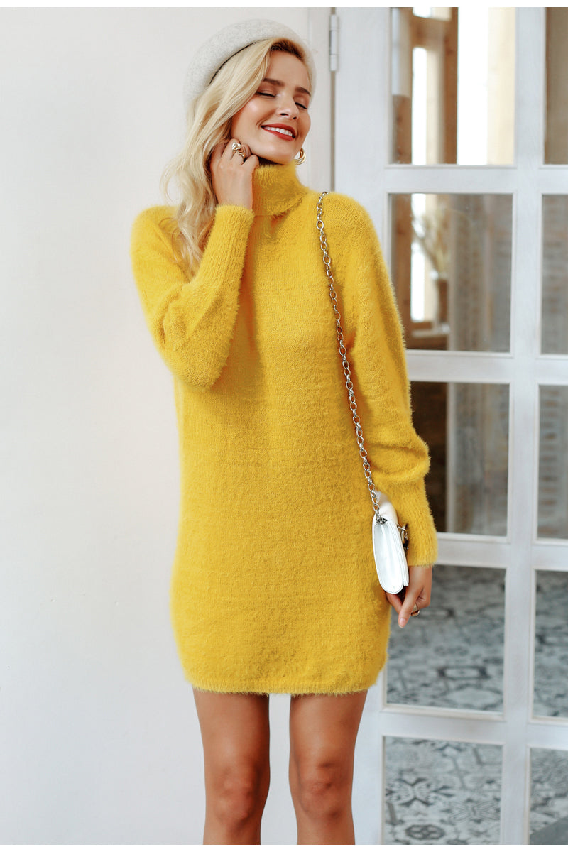 Vee Turtleneck Sweater Dress