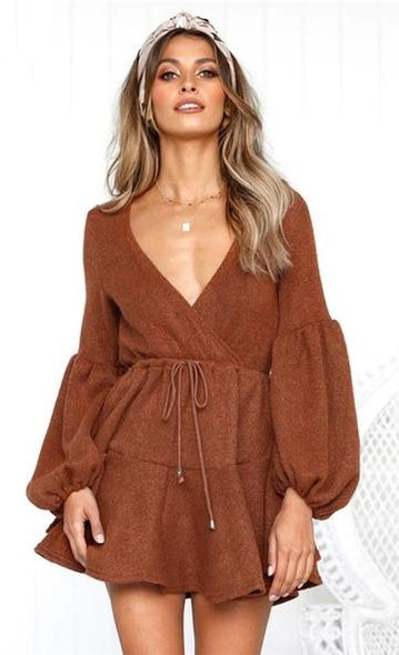 Vee Casual Puff Sleeves Mini Dress