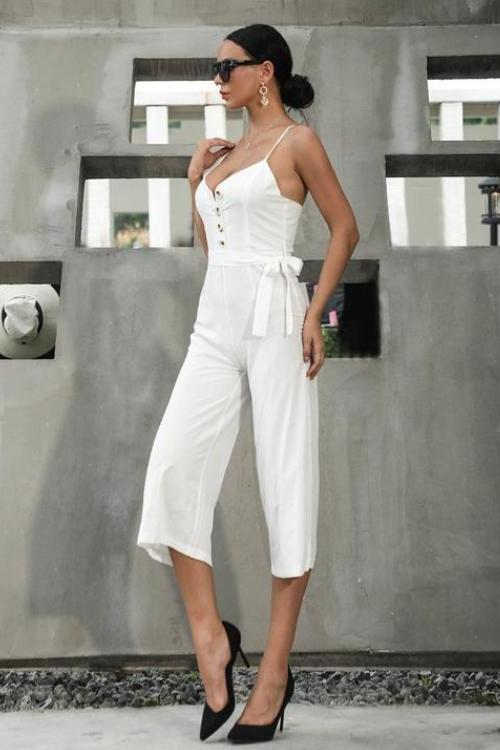 Vee Sleeveless Front Button Jumpsuit