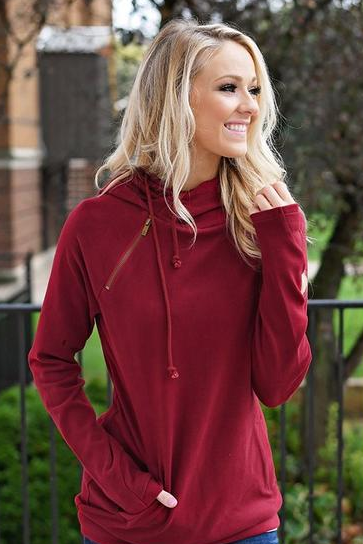 Vee Side Zipper Hooded Sweatshirt